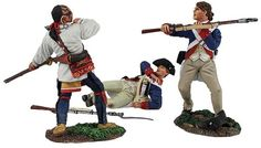 Revolutionary War American 16024 Attack on the Military Road - Made by Britain's Toy Soldiers and Models. Factory made, hand assembled, painted and boxed in a padded decorative box. Excellent gift for the enthusiast.