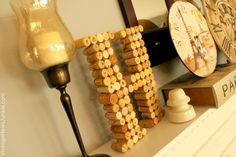 DIY Wine Cork Monogram {and surprise storage for extra corks!}