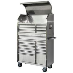Husky 40 in. 18-Drawer Stainless Steel Tool Chest and Cabinet Set-HOTC4018J9QES - The Home Depot