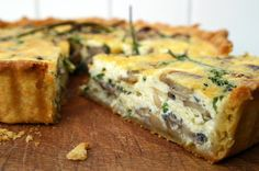 Belleau Kitchen: mushroom, garlic and samphire quiche (Lincolnshire, UK)