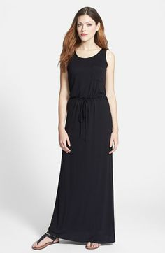 Caslon® Drawstring Jersey Maxi Dress | Nordstrom