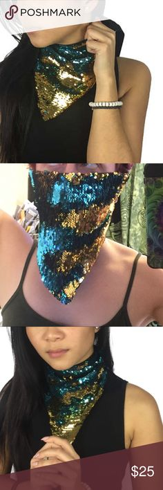 "Sequin mermaid rave mask plur festival bandana edc Reversible sequins festival mask in teal and gold! Ties in the back with material. Great for music festivals burning man etc. 17x9"" long, 8"" ties on each side. New unused. Tags: Coachella nocturnal escape Halloween electric Forrest pvc alien unif rave raver edc edm nasty gal dollskill disco little black diamond ocean moon iheartraves demonia yru lip service mi gente sexy LBD j valentine metallic discount universe mermaid dragon scale disco…"