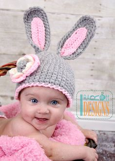 PATTERN Crochet Chunky Bunny Hat With Flower por IRAROTTpatterns
