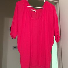 Adorable crop style Fuchsia orange top :) I wore with  a camisole underneath.  Old Navy Tops Blouses