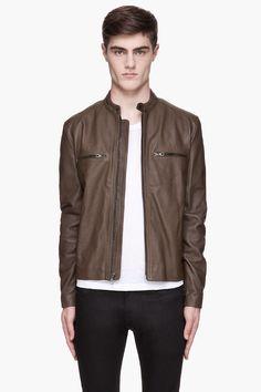 RAG & BONE Olive leather Benson jacket