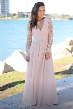 Buy this astonishing Blush Crochet Maxi Dress with Open Back and Long Sleeves from Saved by the Dress Boutique. Stunning maxi dress for any special occasion. Perfect bridesmaid dress in Blush! Blush Pink Maxi Dress, Blush Pink Bridesmaid Dresses, Bridesmaid Dresses With Sleeves, Maxi Dress With Sleeves, Flowy Skirt, Plus Size Blush Dress, Long Sleeve Blush Dress, Bridesmaids, Bridesmade Dresses
