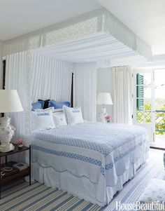 """i want to make each of the guest bedrooms a retreat my adult children and friends will love coming """"home"""" to.  This crisp blue and white is inviting!"""