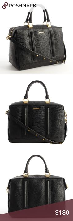 "REBECCA MINKOFF Black Leather 'Hunter' Satchel Excellent used condition. Textured Leather And Matte Goldtone Hardware Ridged Front And Back Seams Zip Closure Top Handles Are 11"" With 4"" Drop; Studded Removable Strap Is 26"" With 12"" Drop Logo Fabric Lined With Four Pockets Four Protective Feet At Base Measures Approximately 12'' At Widest X 11'' Tall At Center X 6'' Deep Leather Rebecca Minkoff Bags Satchels"