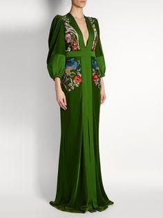 Deep V-neck embroidered velvet gown | Alexander McQueen | MATCHESFASHION.COM
