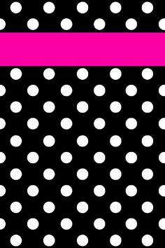 Black Background With White Polka Dots & A Pink Strip Across It | #cell #phone #wallpaper #background #Android #Galaxy #iPhone