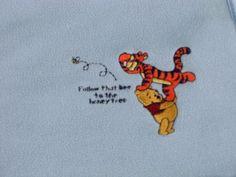 Classic Winnie the Pooh Baby Security Blanket Lovey Satin Trim Pooh Tigger EUC #Disney