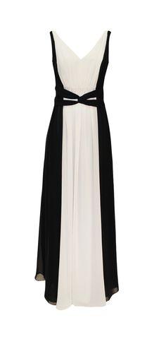 MOD: 0 141353 Vestido Blanco y Negro Largo de Chifón MODELO AGOTADO