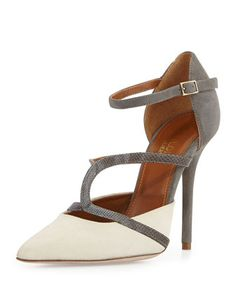 Malone Souliers Veronika suede ankle-strap pump, ivory/gray