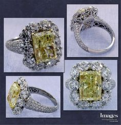 This natural fancy intense yellow diamond center is 5.16ct and the old European cut diamonds surrounding it are 3.56cttw. The mounting was hand fabricated by one of our master goldsmiths and is one of a kind. Images Jewelers