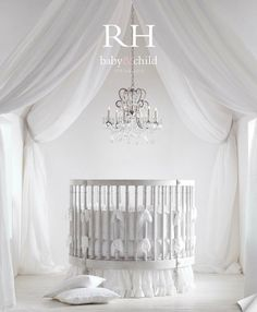 Restoration Hardware Baby & Child, darling round crib! And that chandelier! Just adorable. #baby #nursery