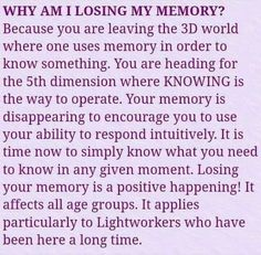 I began noticing my memory loss at 38 yrs., in It's reassuring to read this and put the pieces together as doctors have had no impact on where I am today. Spiritual Enlightenment, Spiritual Wisdom, Spiritual Growth, Spiritual Awakening, Spiritual Warrior, Spiritual Healer, Spiritual Path, Reiki, Tarot