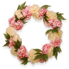 """Find product information, ratings and reviews for Artificial Peony Wreath Pink & White 24"""" - National Tree Company® online on Target.com."""
