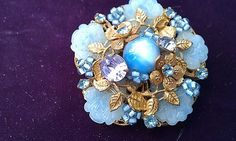 Vintage Signed Miriam Haskell Glass and Rhinestone Brooch