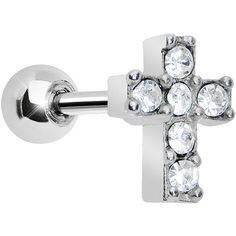 Clear Gem Sparkling Cross Cartilage Tragus Earring #bodycandy #cartilage #cross