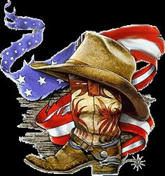 American Cowboy - Boot, Hat, Flag