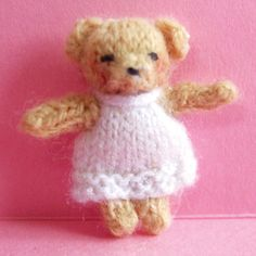 how to: miniature knitted toy teddy bear