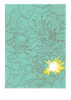 Sprengt III, farbiger Linolschnitt auf 300 gr. säurefreiem Karton, 2009, Auflage: 10 Stück von mingoniaprintshop auf Etsy