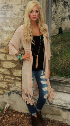 Taupe Crochet Kimono - The Lace Cactus Enter code ASHLEYH10 at checkout for 10% off