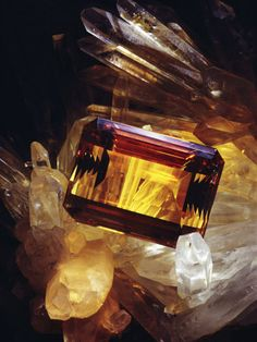 """Citrine - Citrine is a variety of quartz whose color ranges from a pale yellow to brown. Natural citrines are rare; most commercial citrines are heat-treated amethyst. Citrine contains traces of Fe3+ and is rarely found naturally. The name is derived from Latin citrina which means """"yellow"""""""