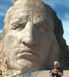 Stephen W Emerick, Poet~Psychologist, Native American Flute Player playing before Chief Crazy Horse monument.