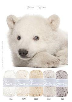 Kleurinspiratie - IJsbeer. Mooie naturel tinten van ByClaire om mee te haken en/of te breien. Wit, crème, zand, taupe