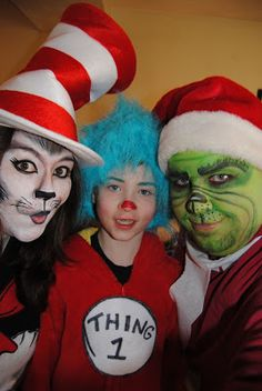 DIY Family Costume! Dr. Seuss characters. Cat in the Hat, Thing 1/2 and the Grinch!