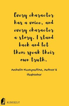 Author and illustrator Ambelin Kwaymullina on dialogue and how she finds her characters' voices. Part of the LoveOzLit author quote series. Read more: #LoveOzLit: Ambelin Kwaymullina on dialogue http://editingeverything.com/blog/2016/05/17/loveozlit-ambelin-kwaymullina-dialogue/