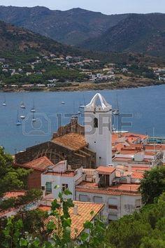 Port de la Selva vista del mar y de la Iglesia   Costa Brava  Catalonia
