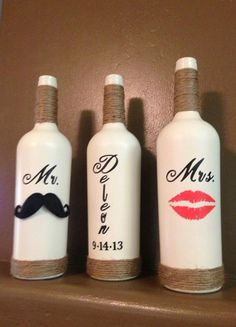 Mr. Mustache and Mrs. Red Lips Personalized Wine Bottle Set for a Wedding, Gift, Favor, Decoration, Centerpiece on Etsy, $40.00
