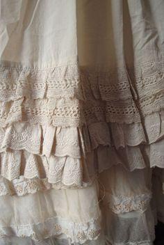 white skirt with ruffels