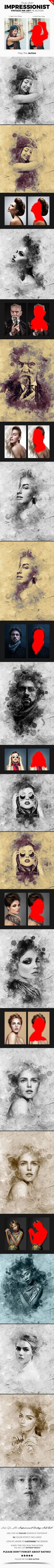 Impressionist Vintage Ink Art Photoshop Action - #Photo #Effects #Actions