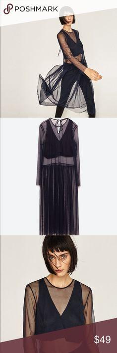 Zara sheer sexy tunic navy blue NWT XS Beautiful tunic from Zara sheer with long sleeves. XS Zara Tops Tunics