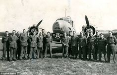 The RAF hero (pictured with his hands clasped in front) pictured with the No 276 air sea r...