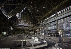 The derelict blast furnace of the Carrie Furnaces in Rankin, Pennsylvania, which have been left abandoned since they were shut down in 1982