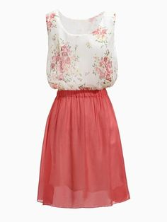 Wholesale  Zanzea Flower Pattern Sleeveless Chiffon Dress $13.99