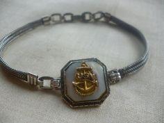 Vintage WWII US Navy Sweetheart Bracelet by PamelaMurphyVintage, $60.00