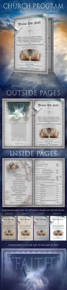 "This Church Program brochure comes in 2 PSD files: Outside and Inside. Both pages are 11""x8.5"" but the pages when folded are 5.5""x8.5"". There are 4 different backgrounds you can use. The background ¡°frame"" can also be used with every other background, since it"
