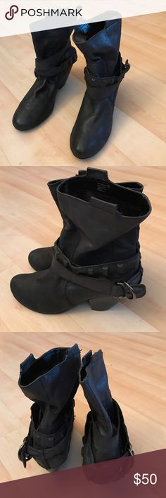 "Dark gray leather boots Naughty Monkey dark gray leather booties with studded leather belts. Excellent condition. Heel hight 3"". Very soft naughty monkey Shoes Ankle Boots & Booties"