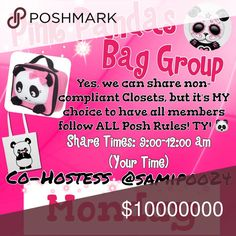 💗🐼Monday🐼💗 🐼Sign up with your tag @_____.                         🐼Share 10 bag items per person signed up.      🐼Sharing begins at 9am & sign out by 12pm.      🐼Share some, mark the last person shared.      🐼 If they don't have 10, share until 10 are met.    🐼 Co-Hostess is Dawn @samipoo24.                 🐼 we have sold thousands of bags and are       happy to have you! Go Pink Pandas! Please don't miss days and if so, please make them up. 2 strikes and you won't be allowed…