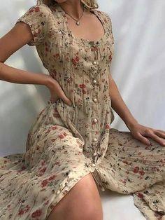 Scoop Short Sleeve Mid-Calf A-Line Floral Dress - Material: Cotton Blends Silhouette: A-Line Dress Length: Mid-Calf Sleeve Length: Short Sleeve Sleeve Type: Regular… Source by greencatiyes - Cute Dresses, Casual Dresses, Cute Outfits, Floral Dresses, Maxi Dresses, Sheer Floral Dress, Floral Clothing, Linen Dresses, Modest Dresses