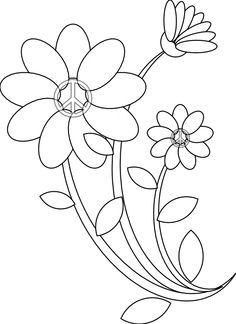 Peace Symbol Peace Sign Flower 33 Black White Line Art Coloring Book Colouring 555px.png