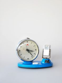 vintage clock and calendar blue