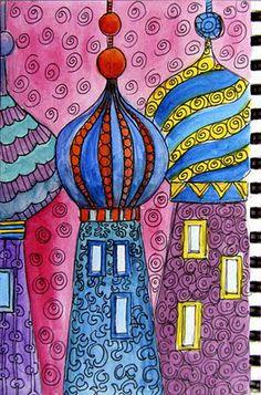 Ro Bruhn - onion domes show hundertwasser buildings as inspiration big kids Art Lessons For Kids, Art Lessons Elementary, Club D'art, Classe D'art, Wal Art, 6th Grade Art, 2nd Grade Crafts, India Art, Middle School Art