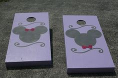 Mickey and Minnie Mouse Disney theme corn hole - make the bows bigger, and use the Cameo to cut a more detailed flourish.