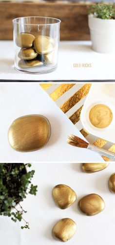 DIY - Hazlo tu mismo - Gold painted rocks for St. Patricks Day | Warm Hot Chocolate